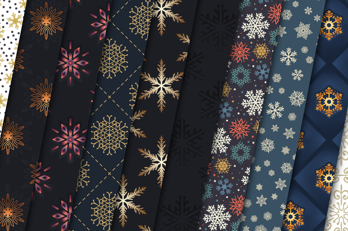 100 Snowflake Seamless Patterns example image 4