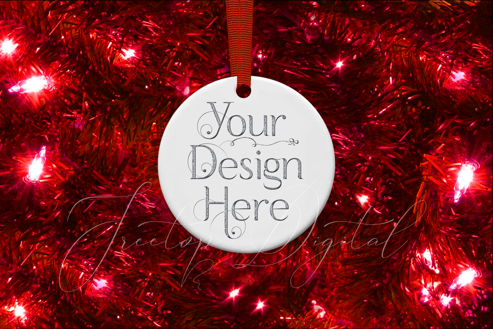 Round Christmas Ornament Mockup, Bauble Mock- Up, JPG example image 12