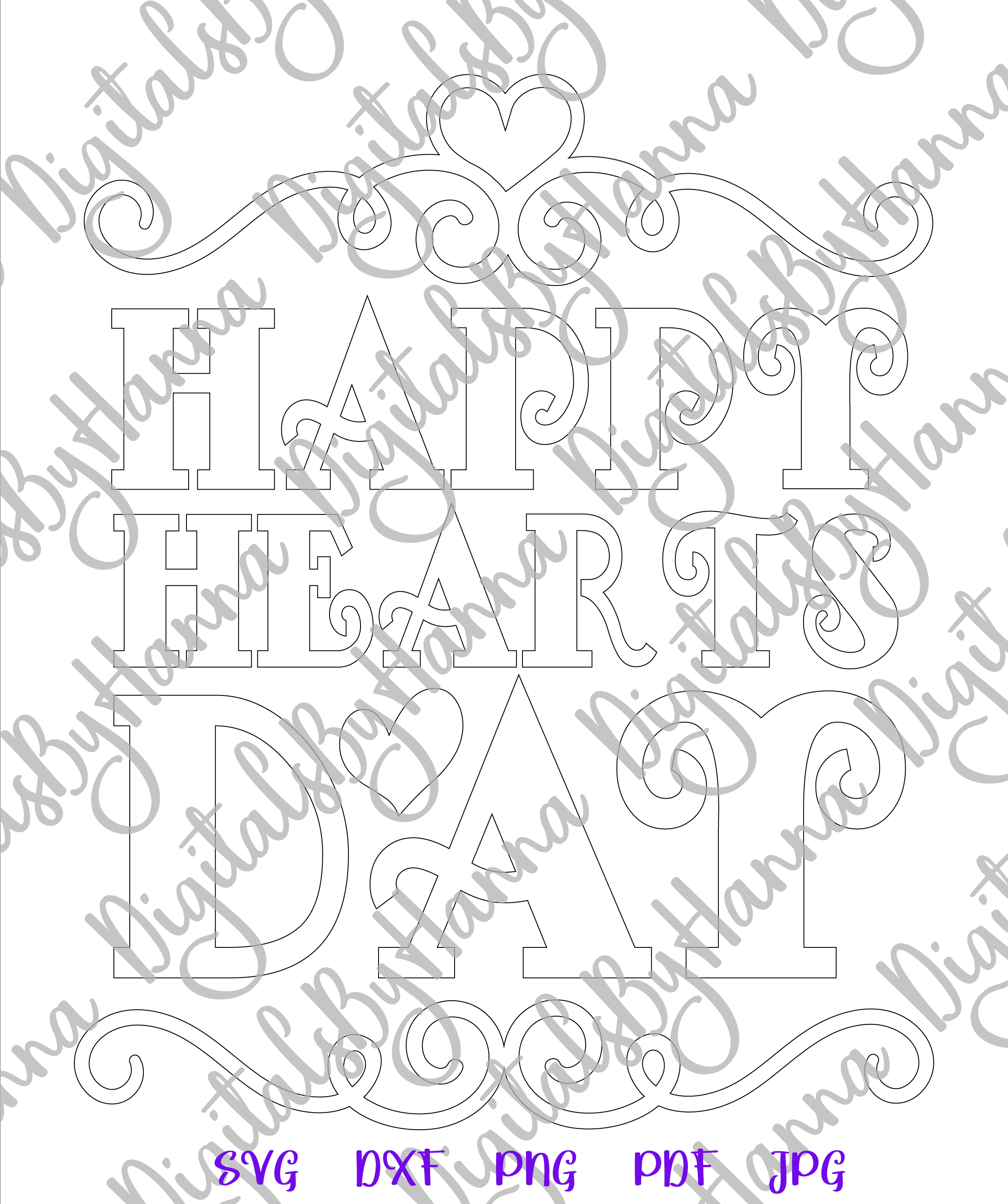 Happy Hearts Day Valentine's Sign Print & Cut File PNG SVG example image 7