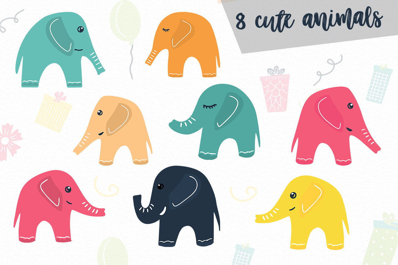 Elephant's party vector clipaty Birthday clipart example image 2