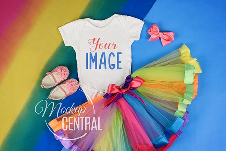 Rainbow Baby Onepiece Bodysuit Mockup Shirt Unicorn Theme example image 1