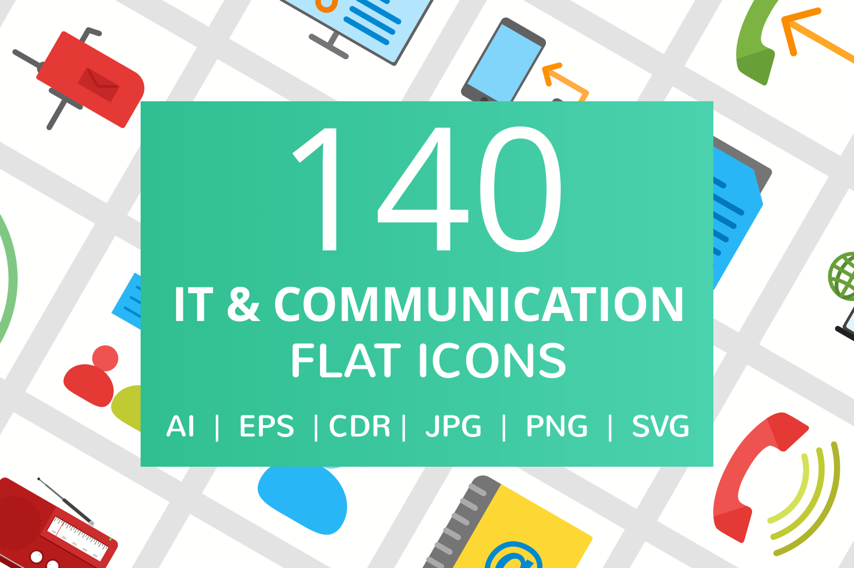 140 IT & Communication Flat Icons example image 1