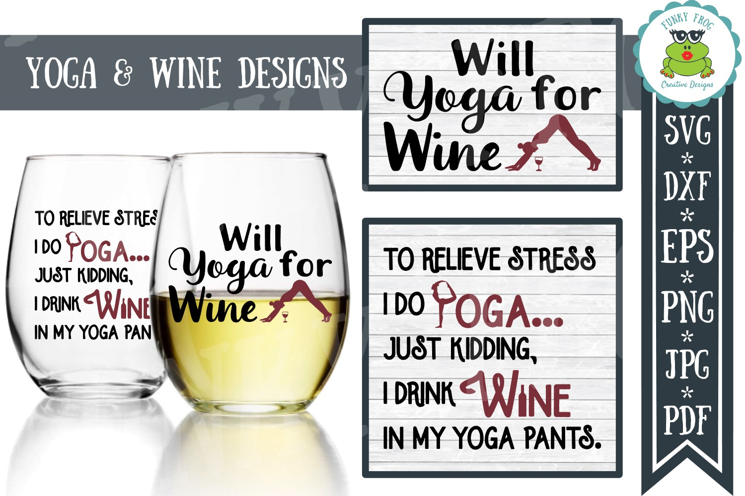 Yoga and Wine Designs - SVG Cut File for Crafters example image 1