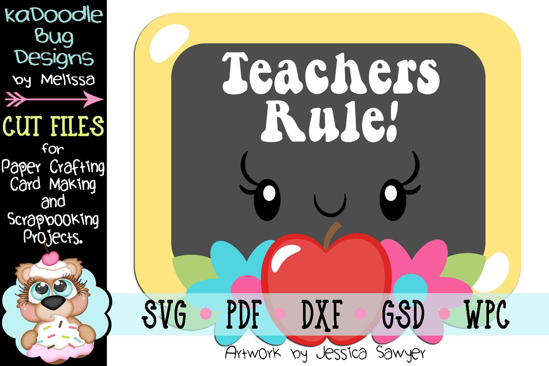 Kawaii Teacher Chalkboard Cut File - SVG PDF DXF GSD WPC example image 1