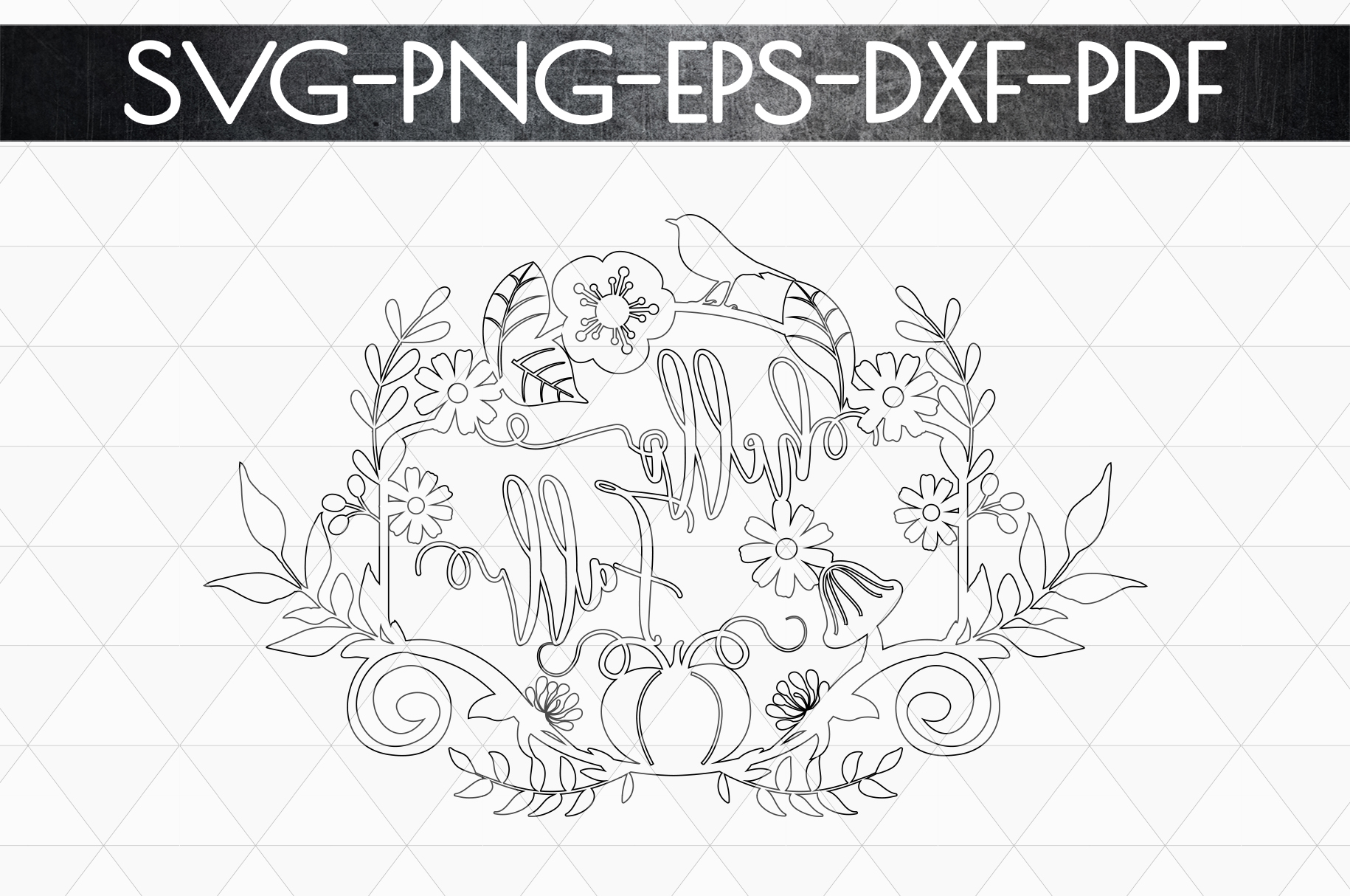 Hello Fall SVG Cutting File, Leaves, Autumn DXF, EPS, PNG example image 7