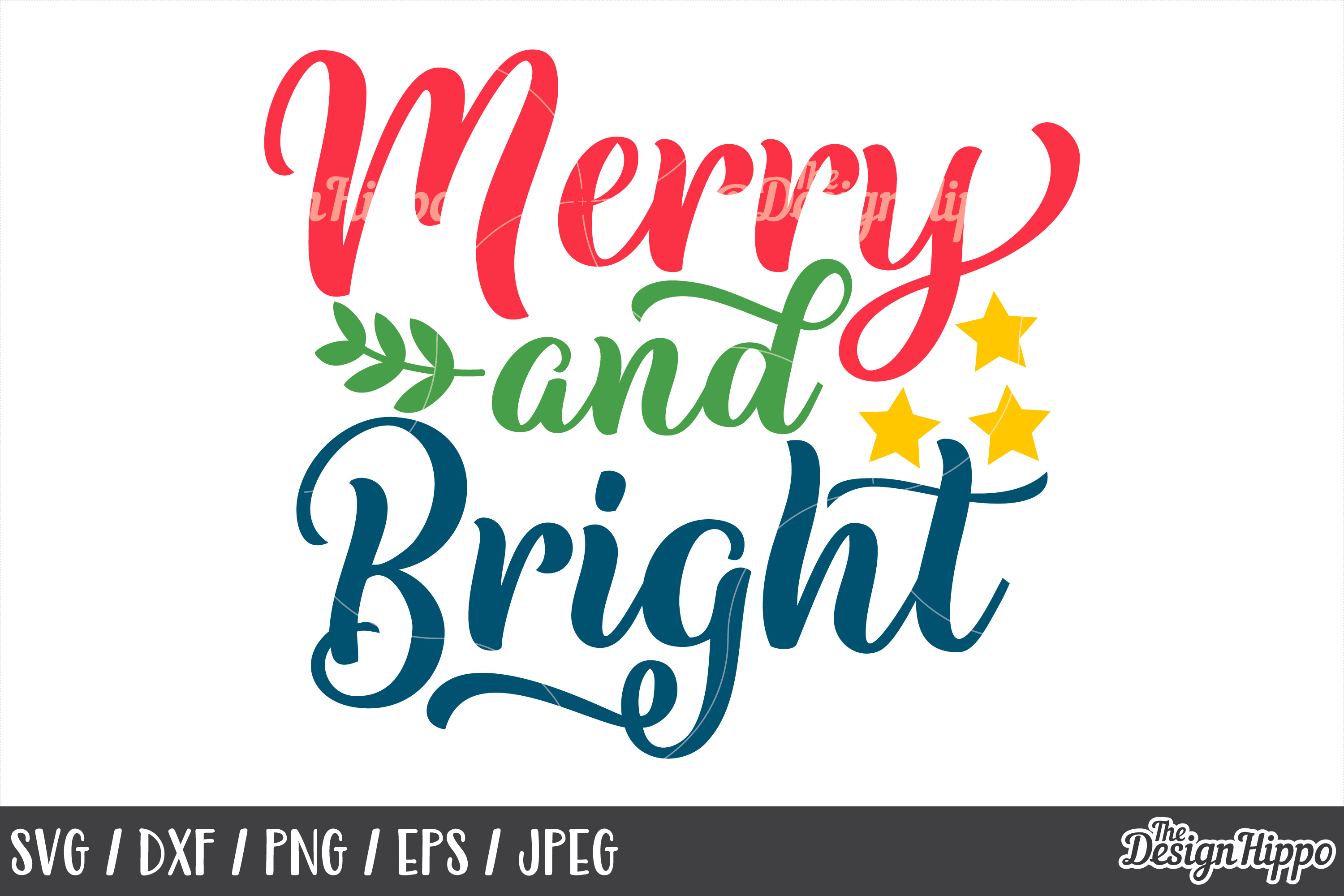 Christmas, Merry and Bright SVG, DXF, PNG, Cricut, Cut Files example image 1