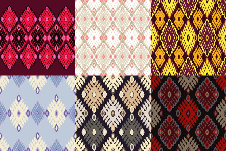Set of 6 Ethnic boho seamless pattern.  example image 1