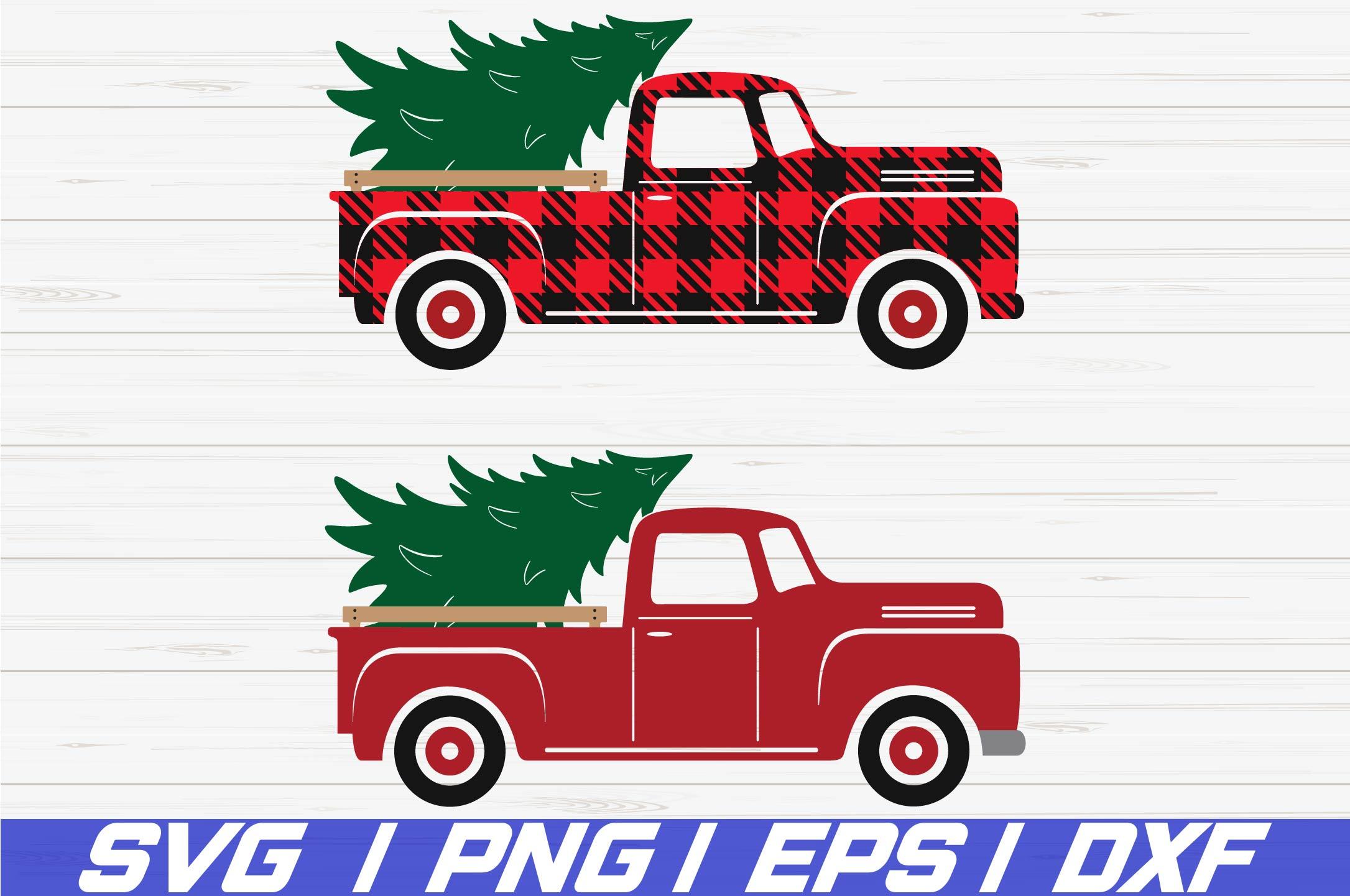 Christmas truck tree SVG / Cricut / Cut File / Silhouette example image 1