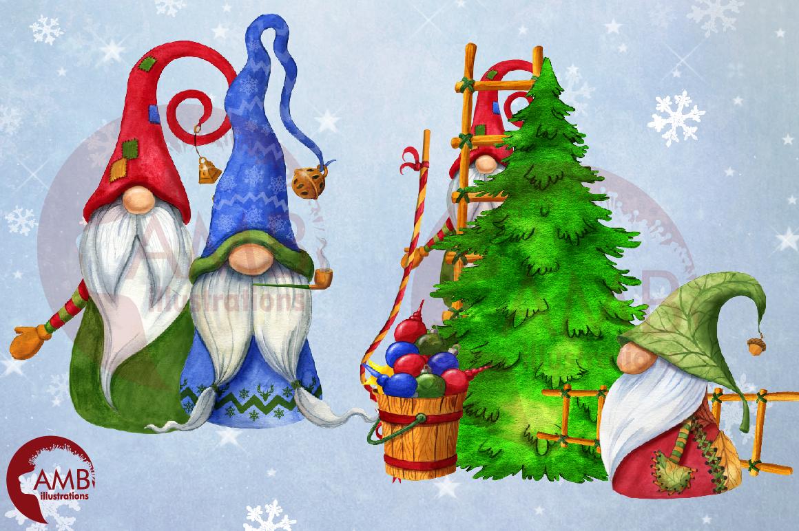 Christmas Gnomes, Scandinavian Gnomes, Watercolour Gnomes, example image 10
