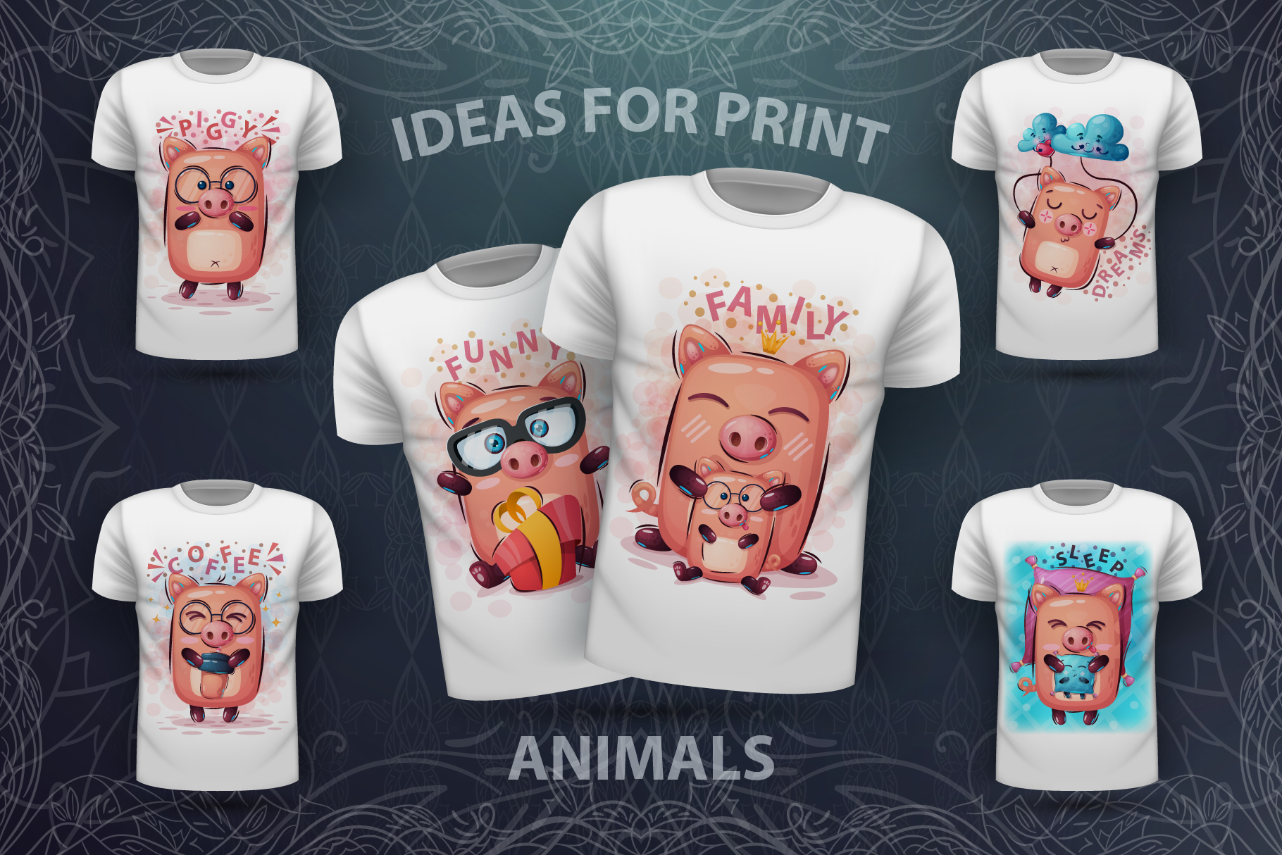 Set cute pig - for print t-shirt example image 1