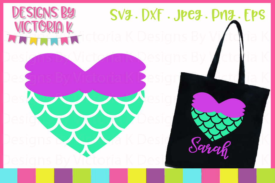 Mermaid heart with scales SVG Cut File example image 1