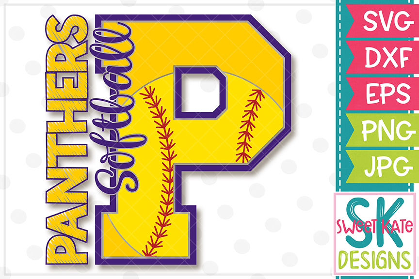 P Panthers Softball SVG DXF EPS PNG JPG example image 3