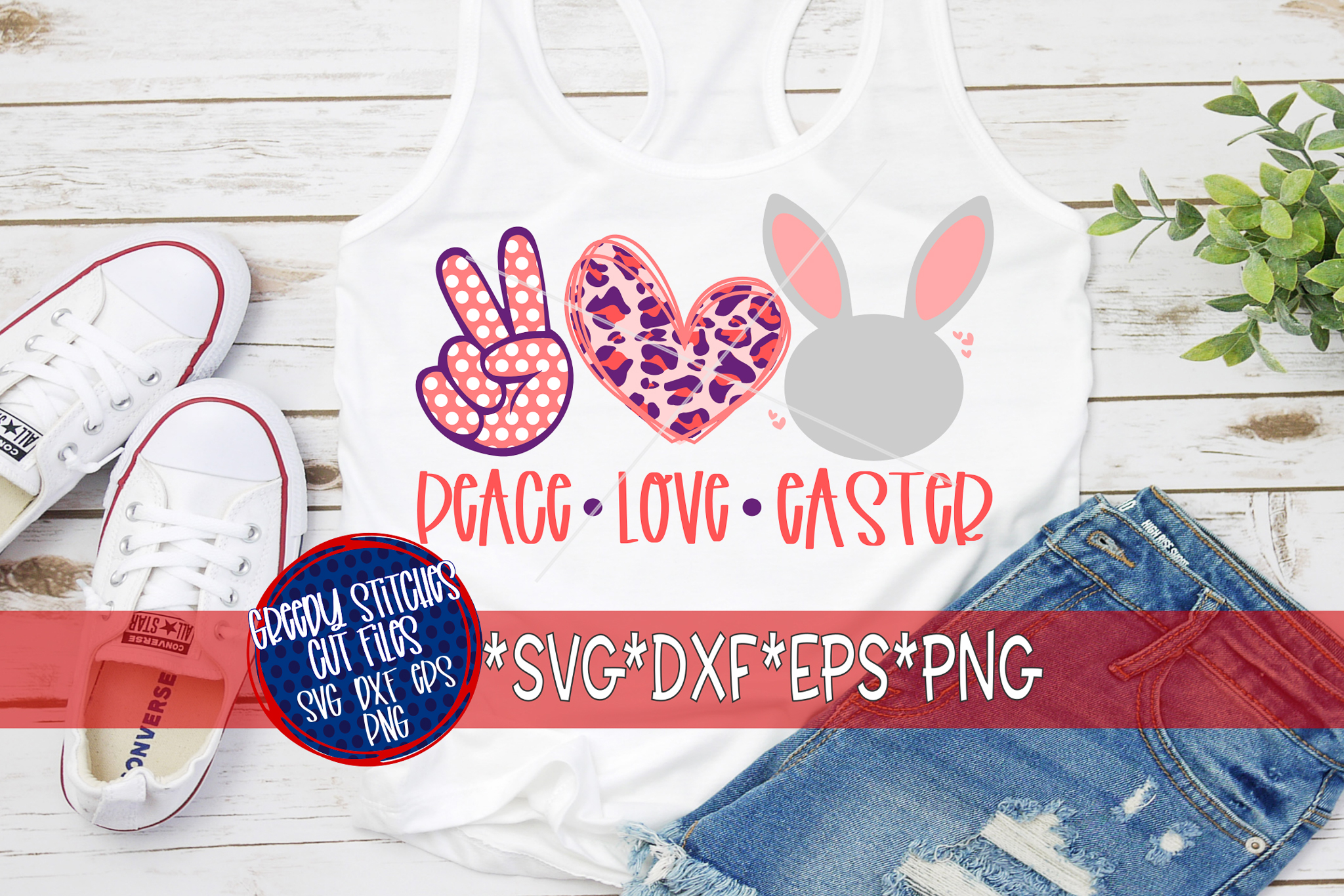 Easter | Peace Love Easter SVG, DXF, EPS, PNG. example image 3