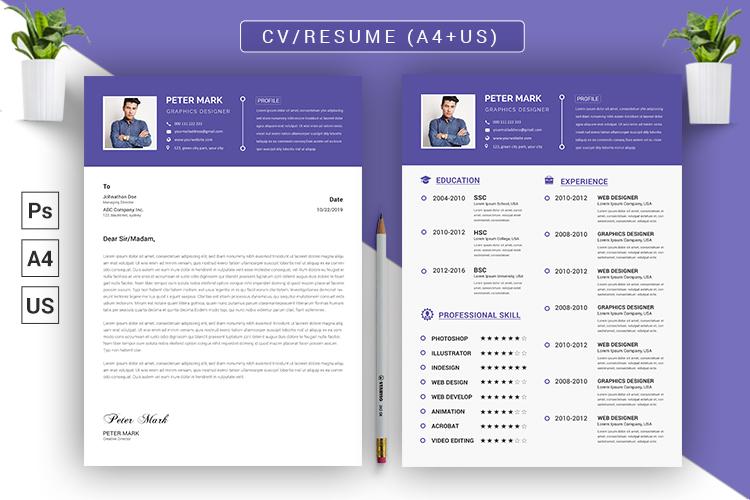 CV Resume PSD Template example image 3