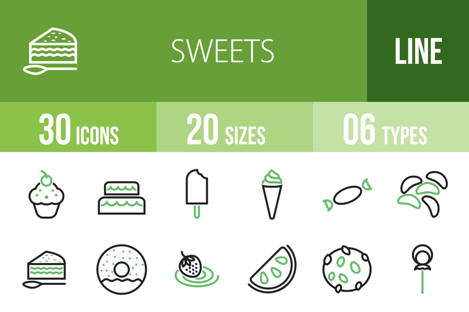 30 Sweets & Confectionery Line Green & Black Icons example image 1