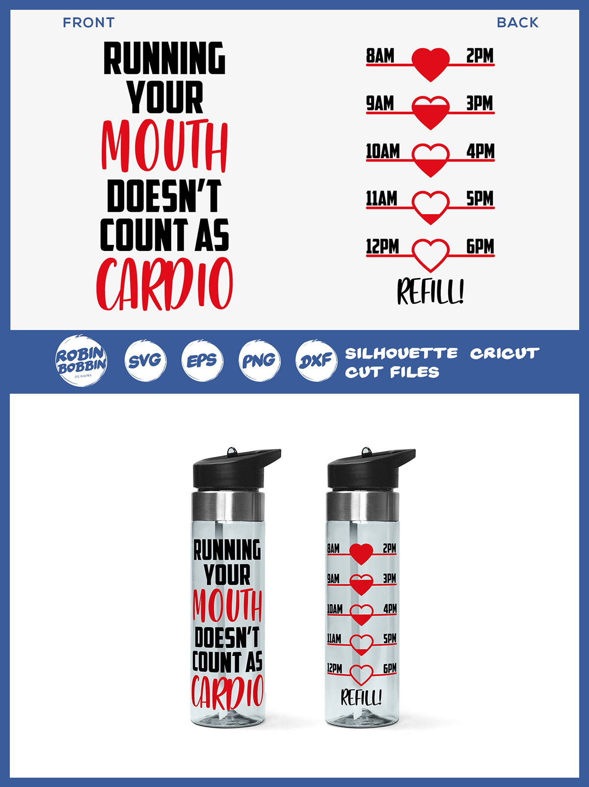 Running Your Mouth - Water Bottle Trackers SVG File example image 2