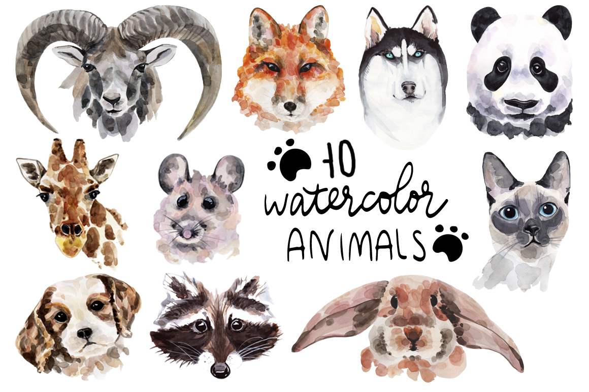 Watercolor animals collection example image 2