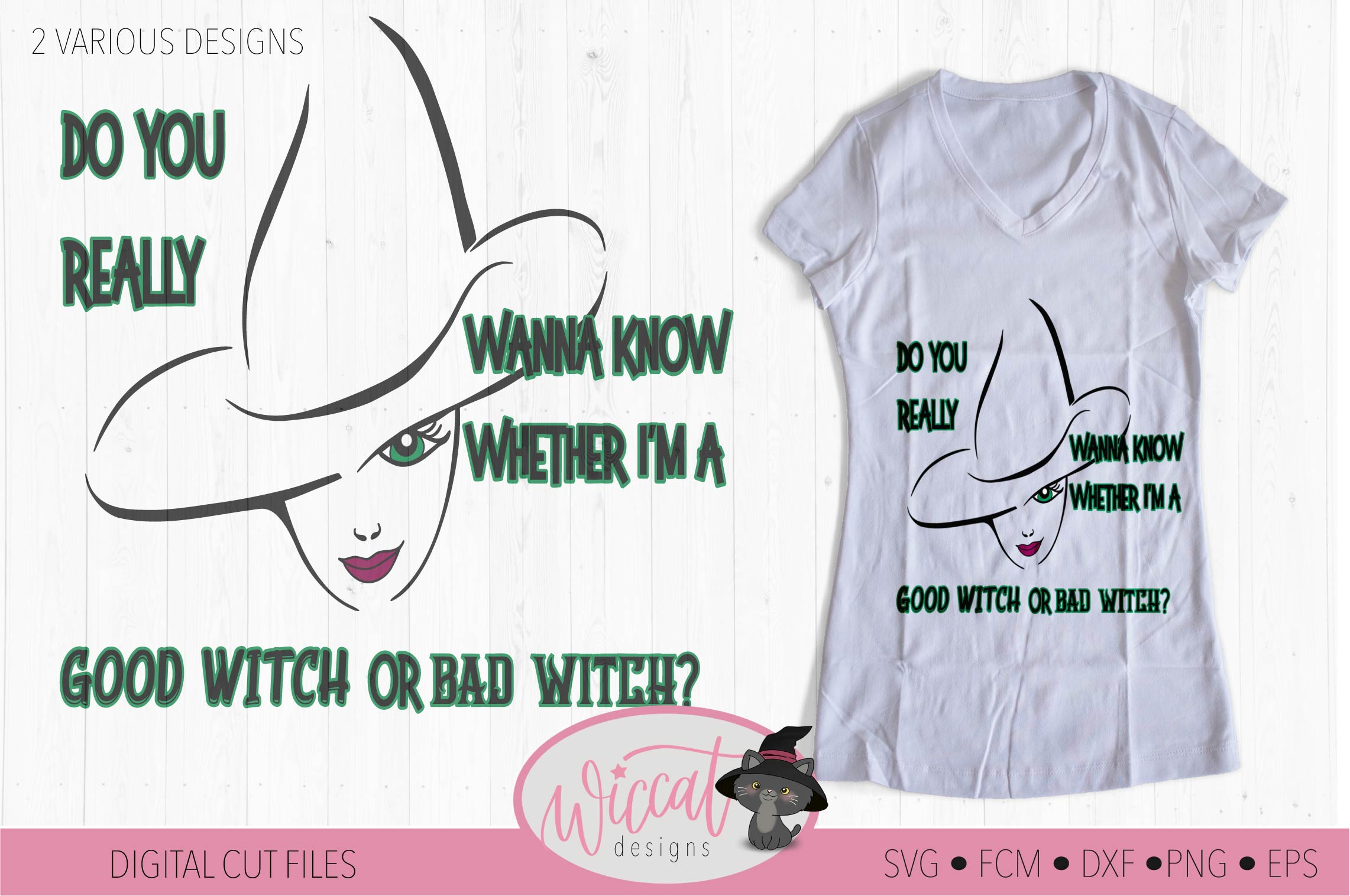Bad Witch svg, Good witch svg, Wicked svg, Halloween svg example image 2