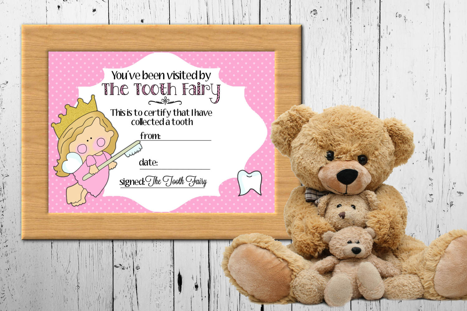 Tooth Fairy Certificate - Pink, 5 x 7 inches example image 2