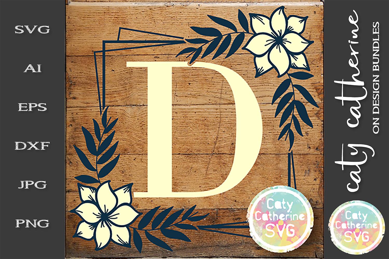 Letter D Floral Monogram Frame SVG Cut File example image 1