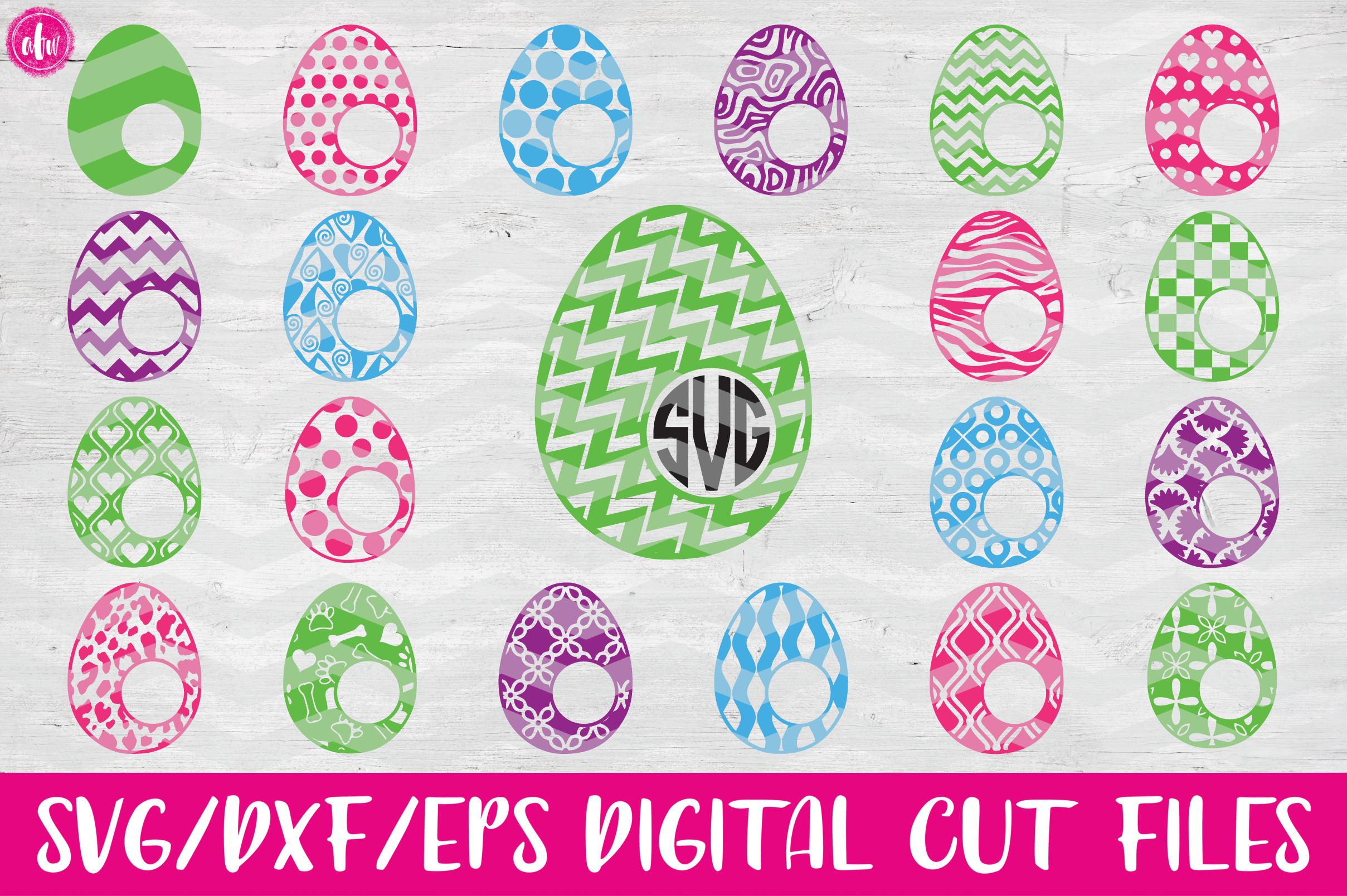 Monogram Pattern Easter Eggs Set of 40 - SVG, DXF, EPS Cut Files example image 1