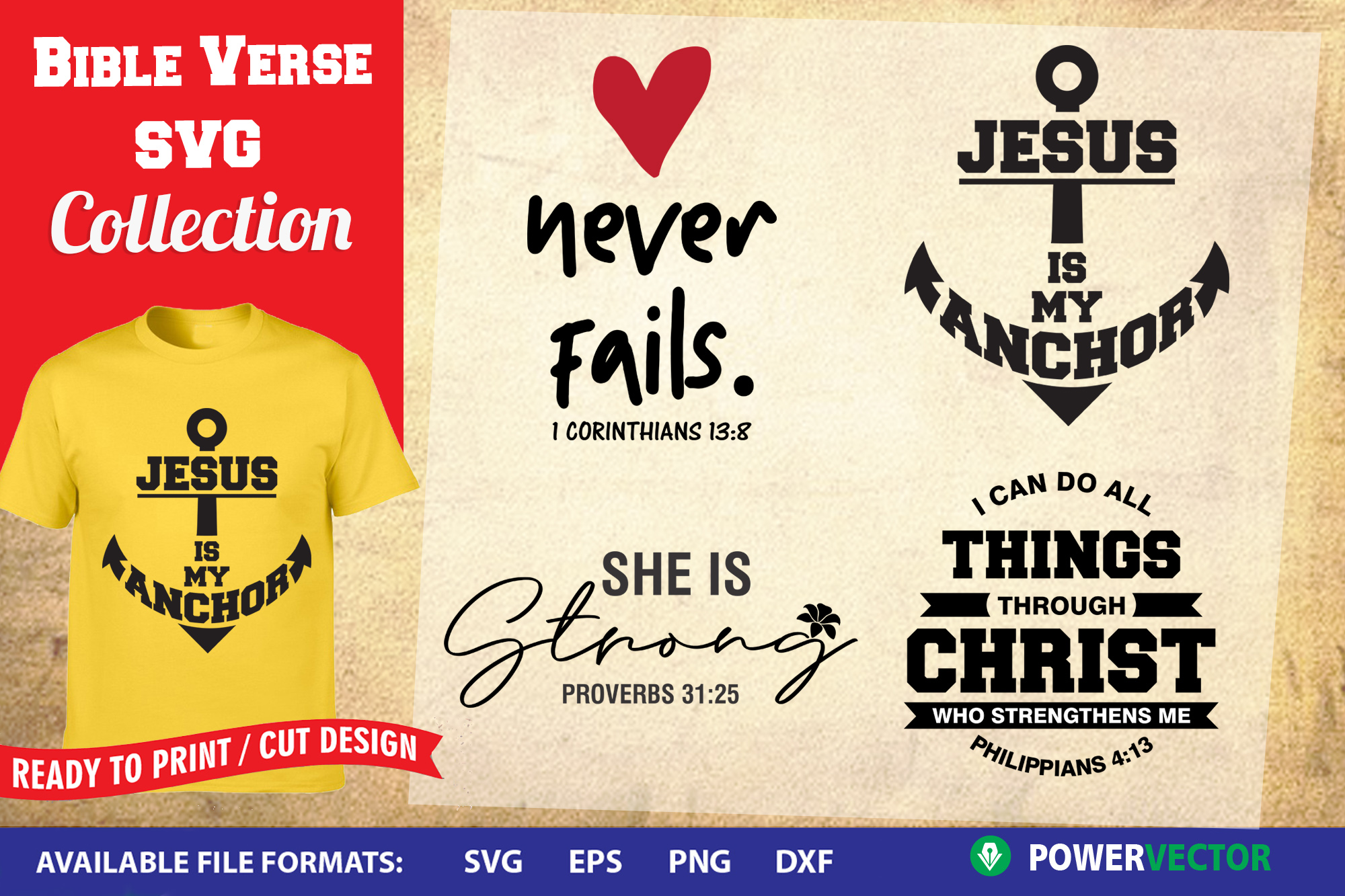 Bible Verse SVG Collection - Ready to cut, print files example image 1