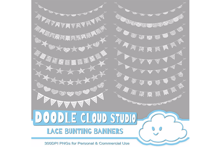 18 White Lace Burlap Bunting Banners Cliparts, multiple lace texture flags Transparent Background Instant Download Personal & Commercial Use example image 2