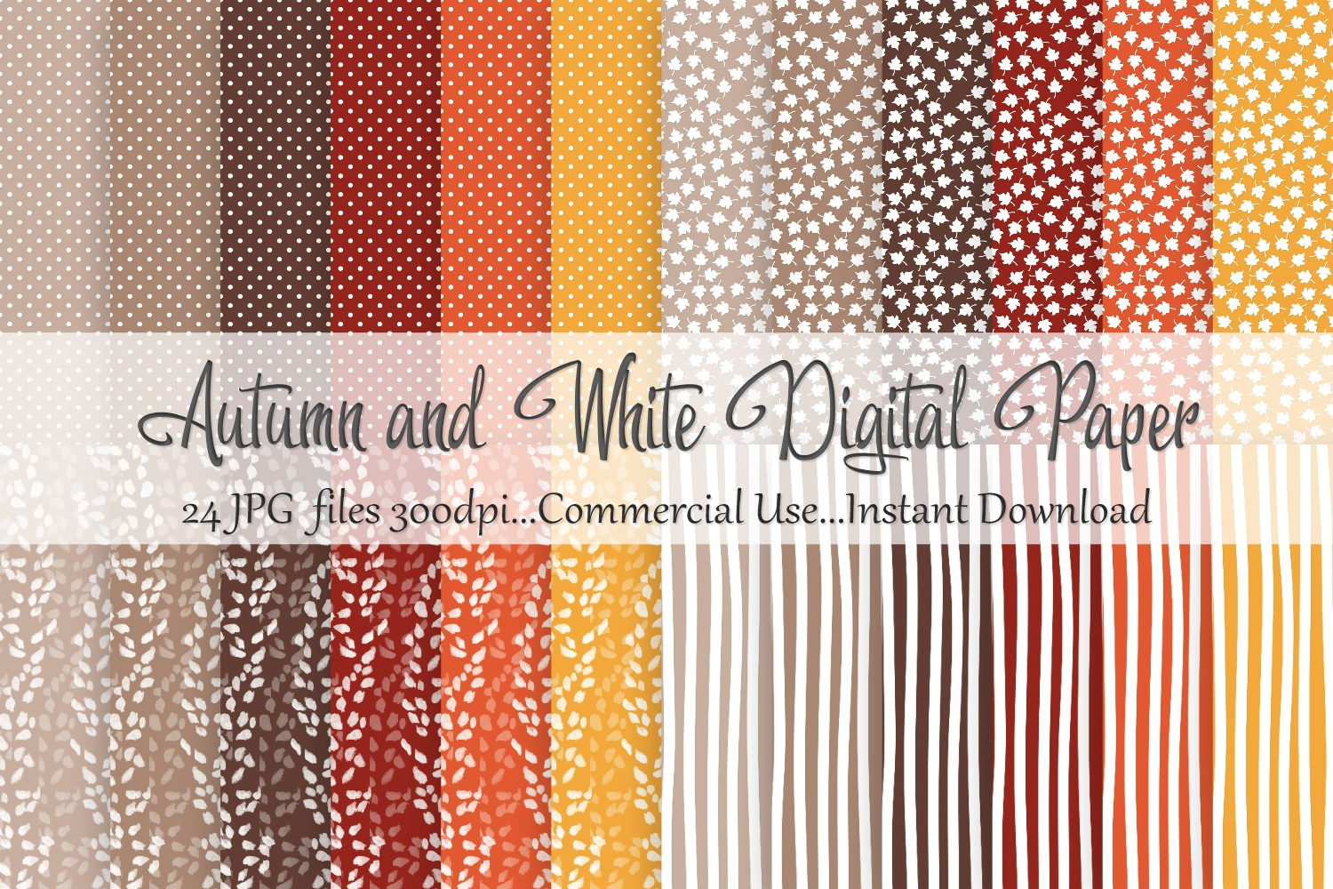 Autumn Fall White Digital Paper example image 1