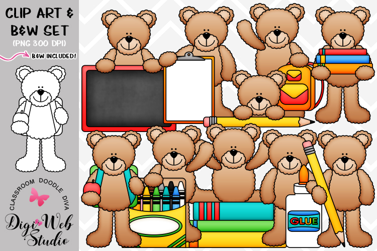 Clip Art / Illustrations - Back to School Teddy Bears example image 1