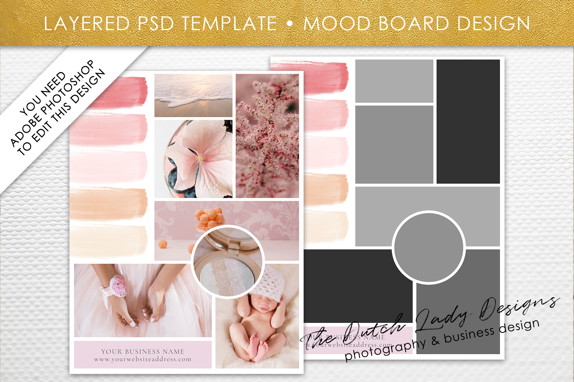 Mood Board Template | Mood Vision Board Template For Adobe Photoshop Layered Psd