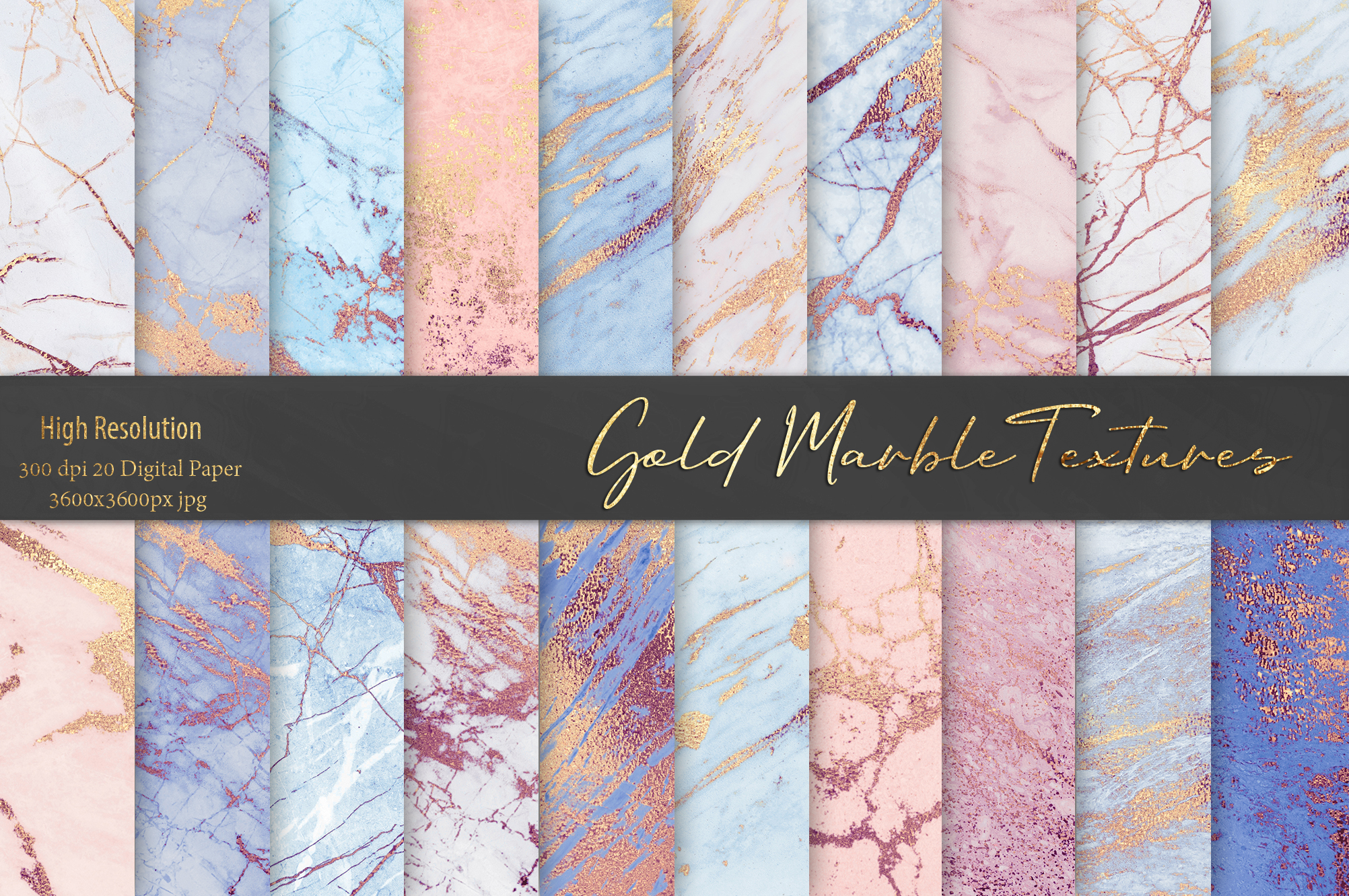 Rose and Blue Gold Marble Textures example image 1
