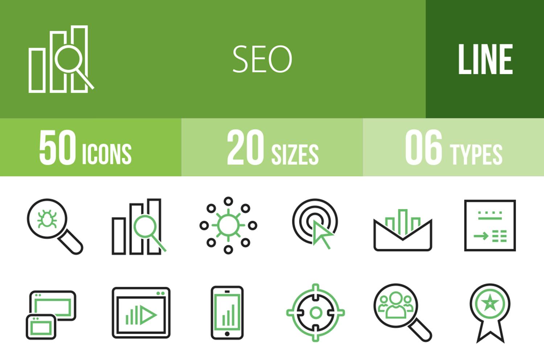 50 SEO Line Green & Black Icons example image 1