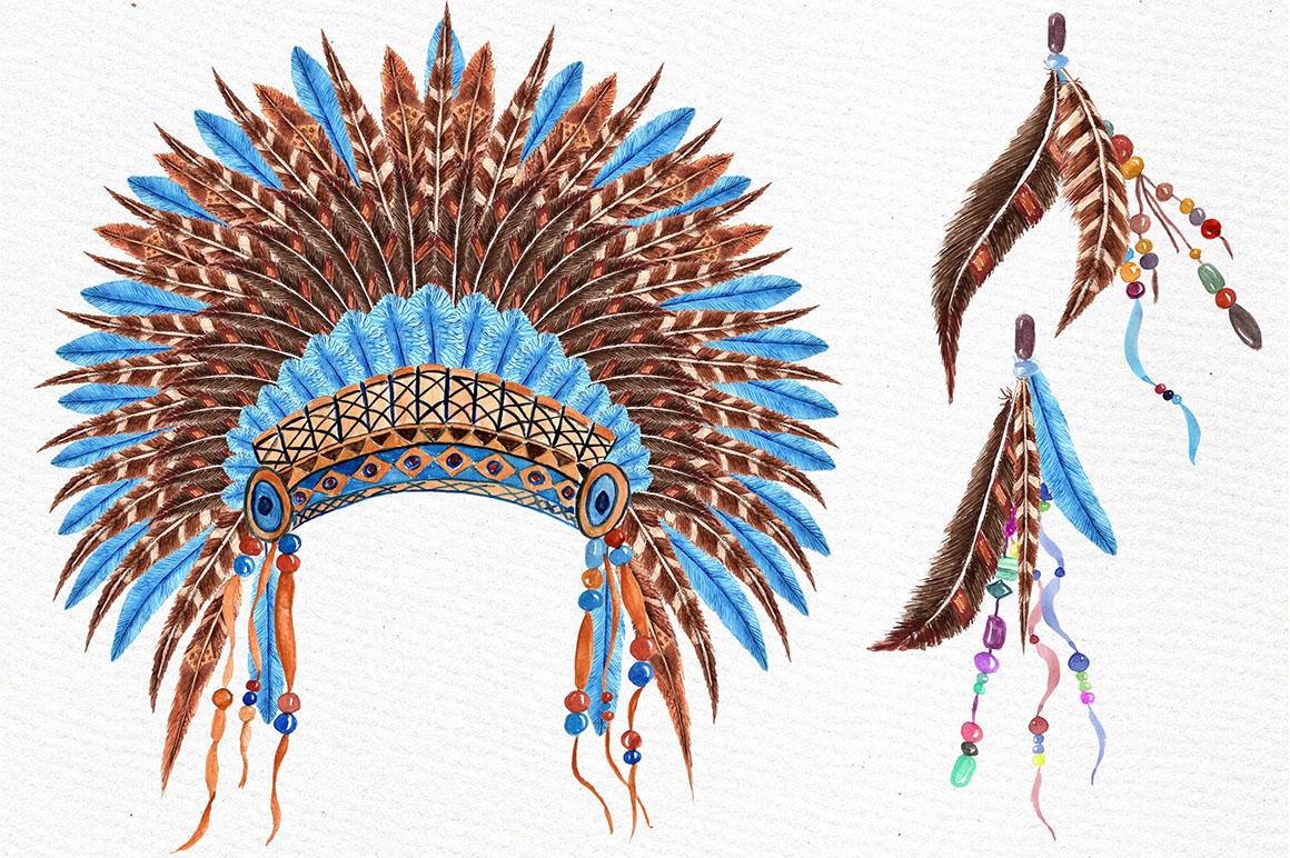 Watercolor tribal set  example image 4