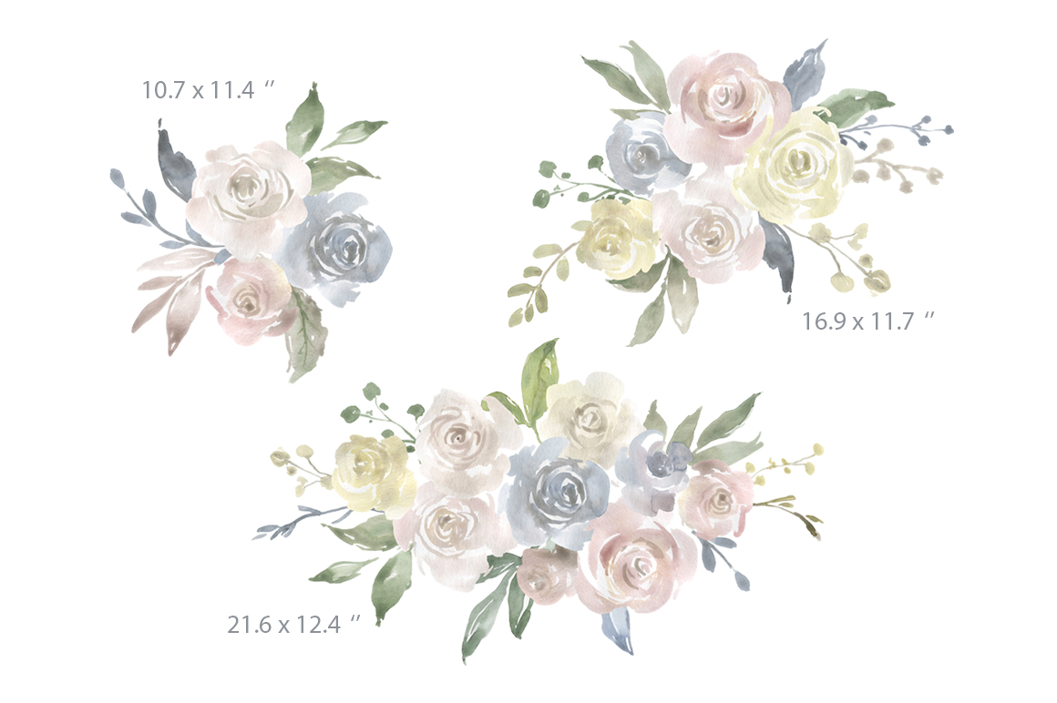 Watercolor Flowers, Bouquets, Frames Light PNG Clipart example image 3