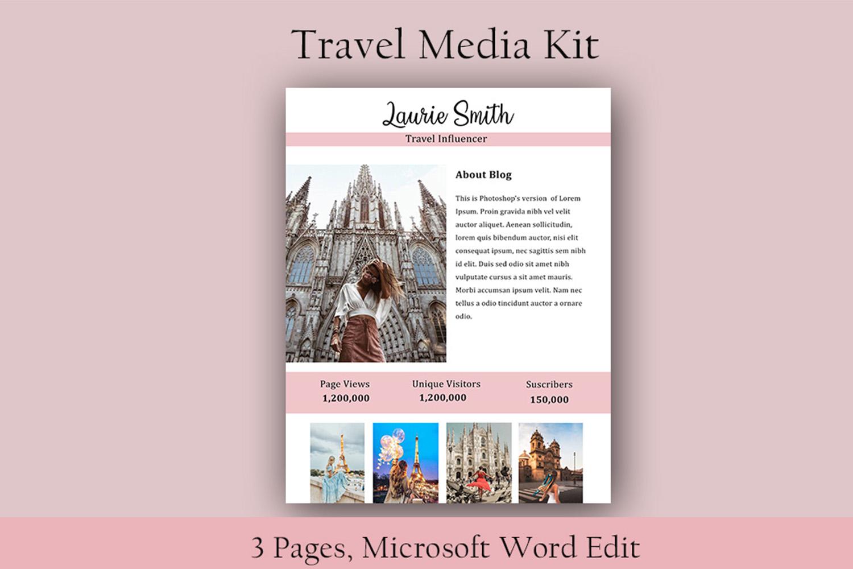 Influencer Media Kit, Travel Media Kit, Microsoft Word Edit example image 2