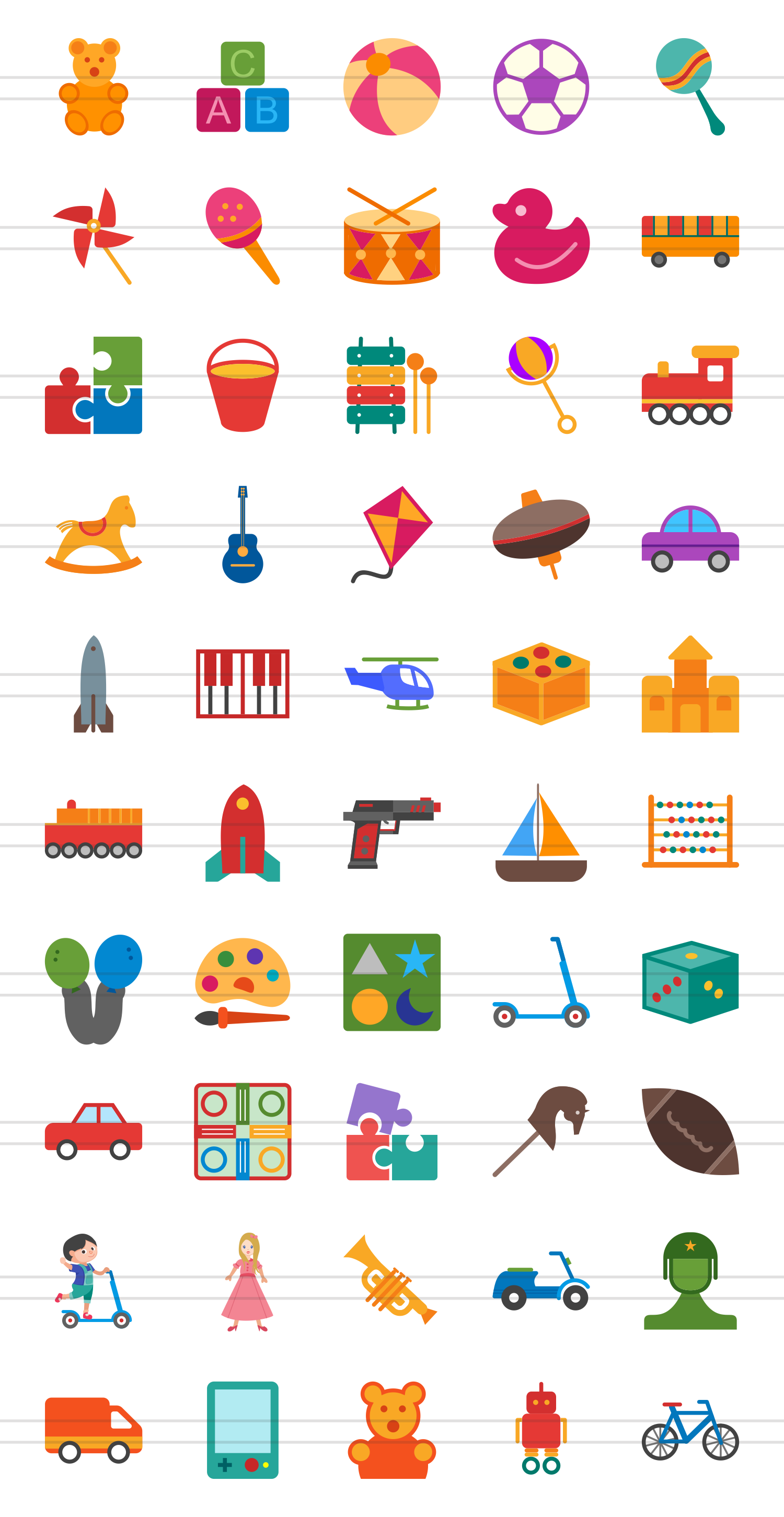 50 Toy Set Flat Multicolor Icons example image 2