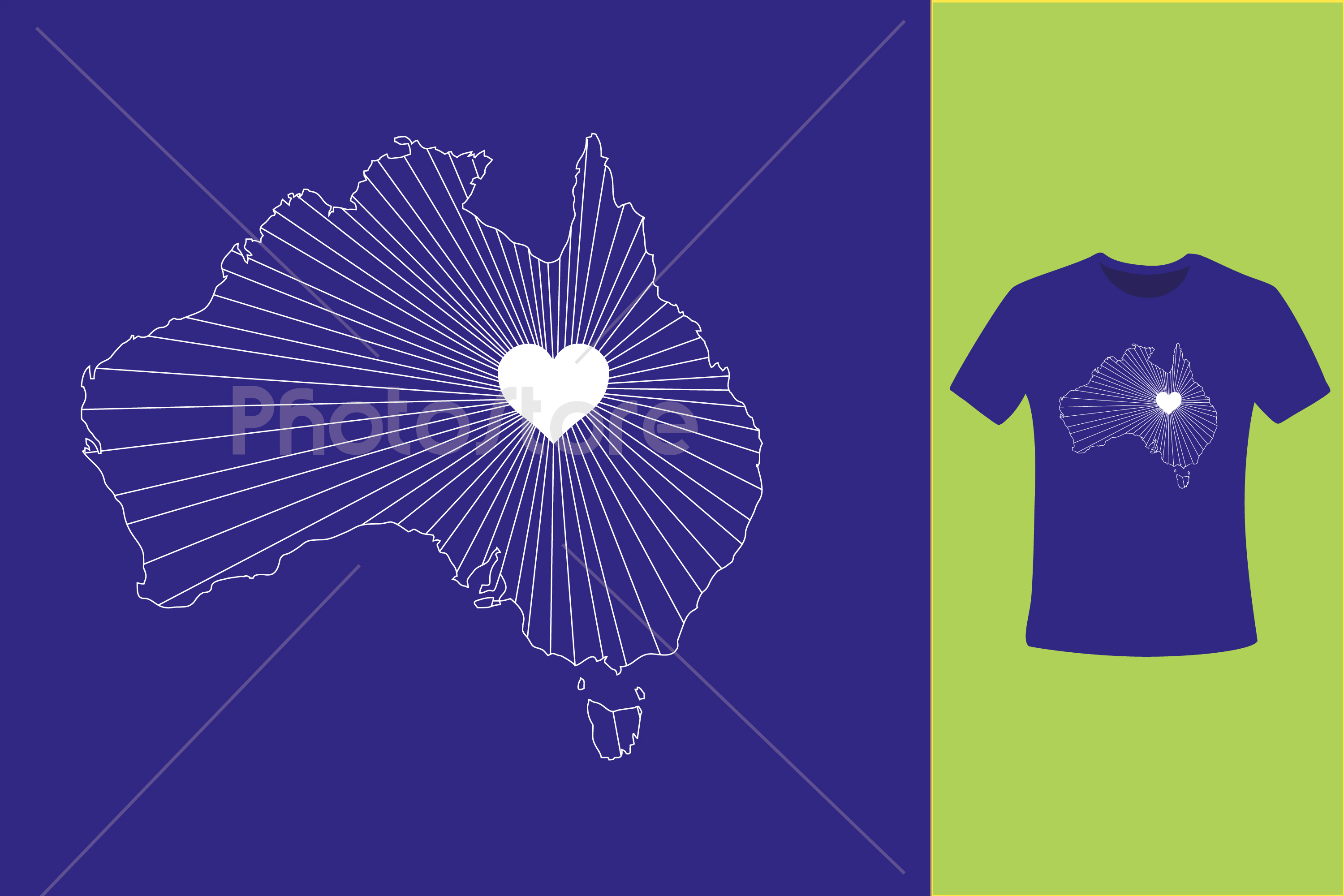I Love Australia, Country Map Silhouette example image 7