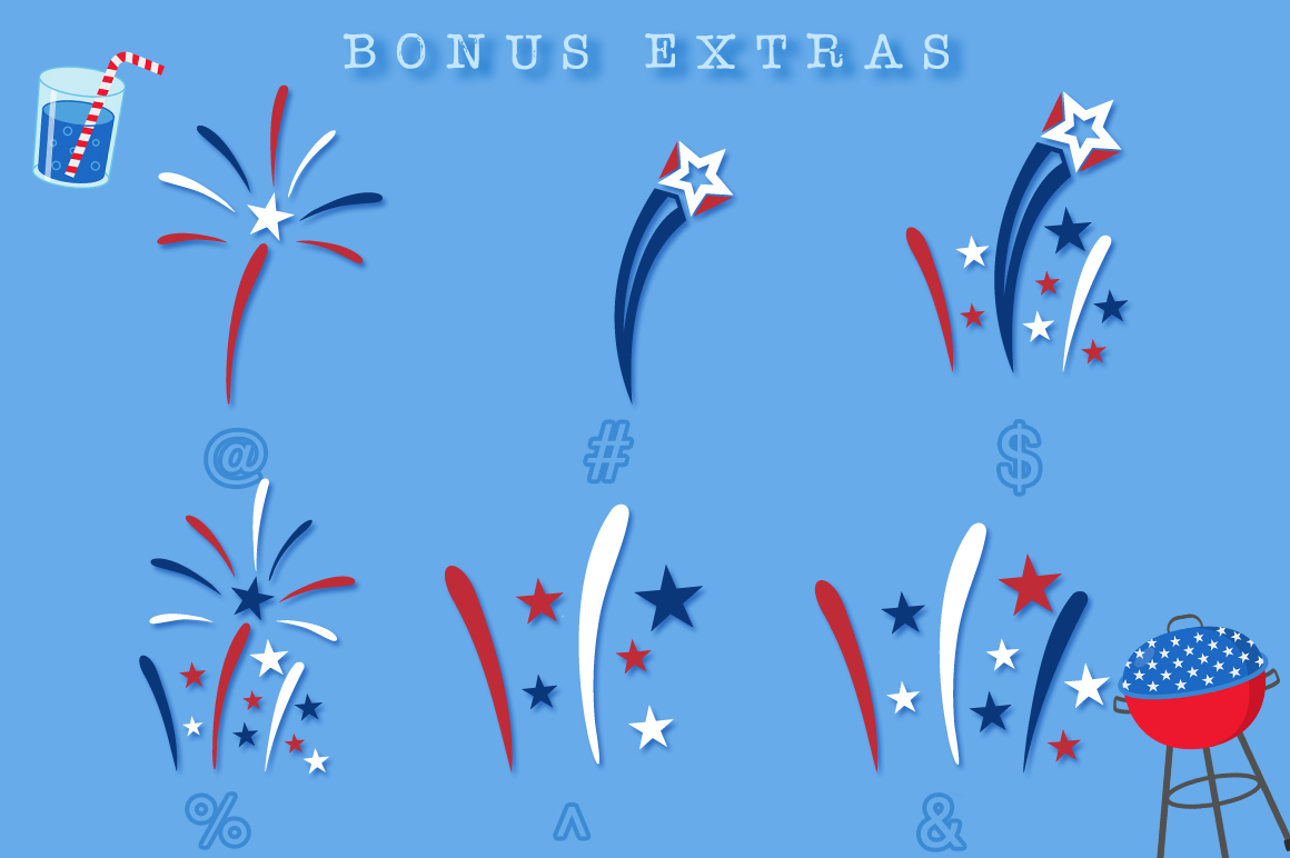 Fireworks 4th of July Font & Bonus Star Studded Font example image 5