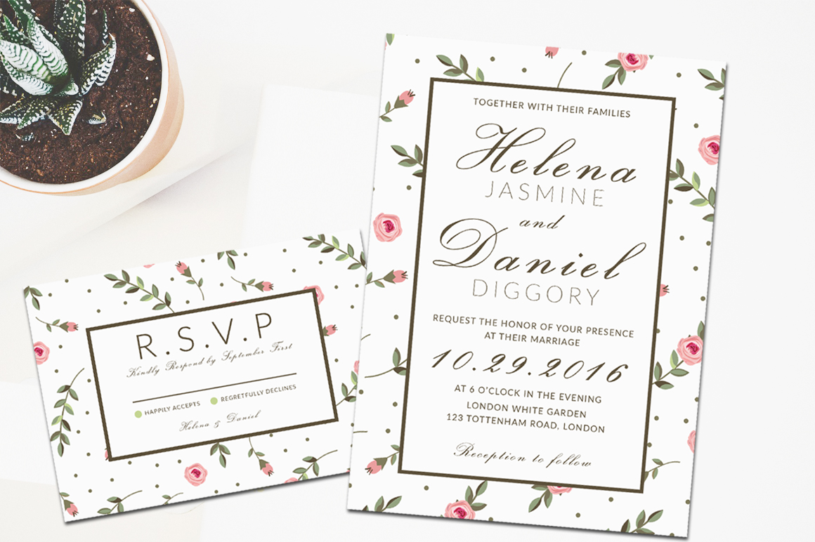 Minimal Floral Wedding Invitation example image 2