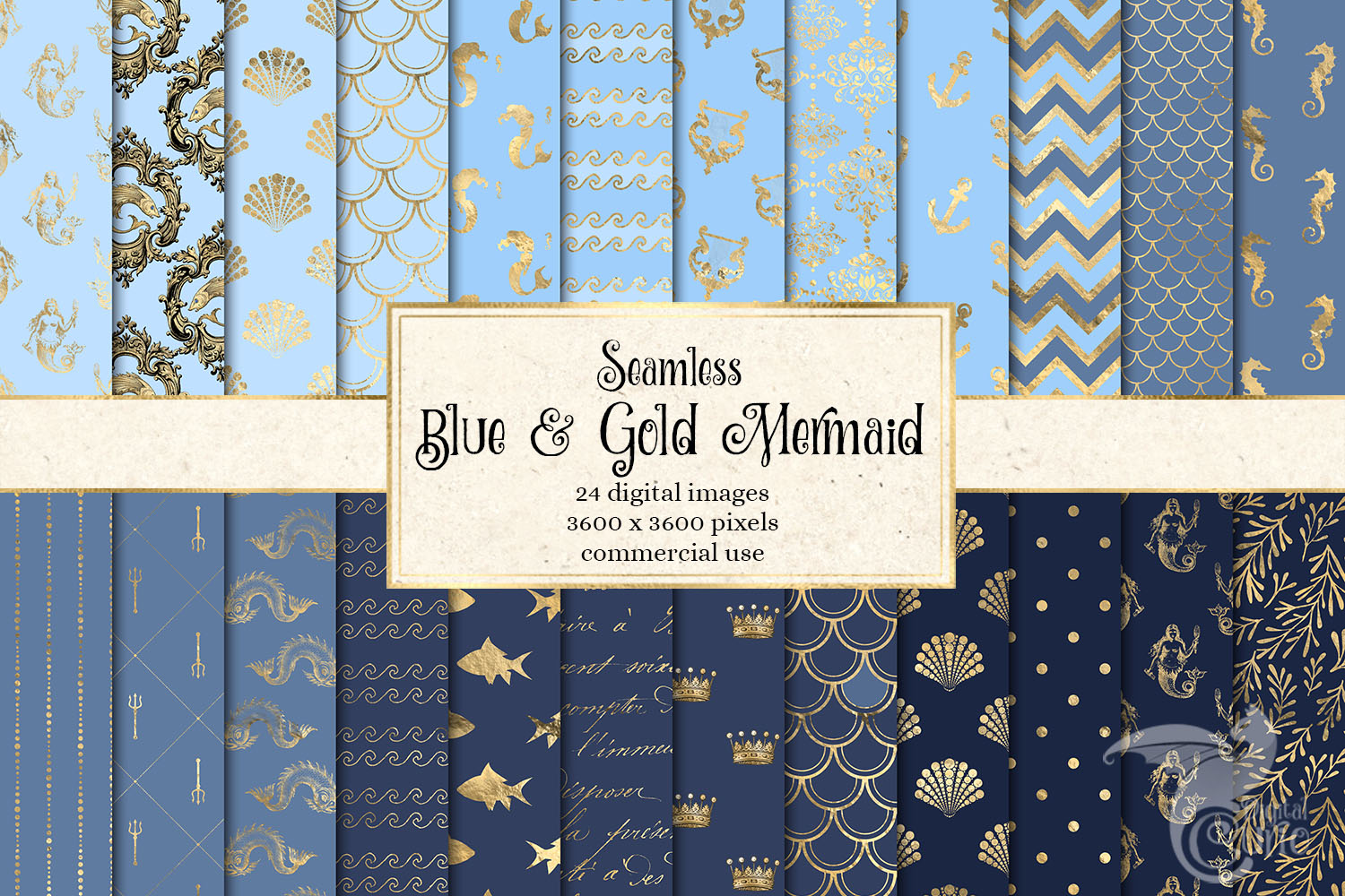 Blue and Gold Mermaid Digital Paper example image 1