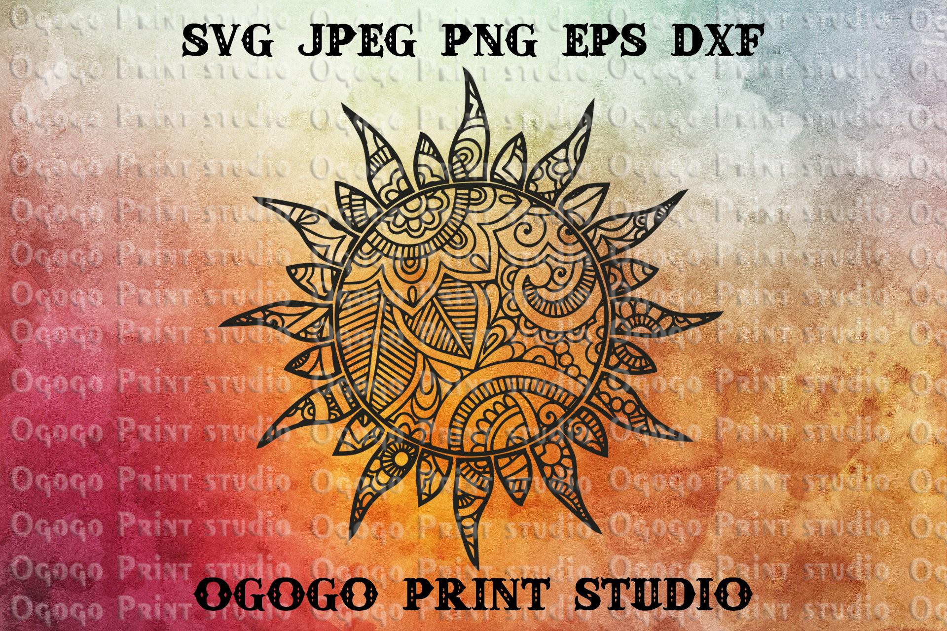 Sun SVG, Zentangle Svg, Summer svg, Mandala svg, Cricut file example image 1