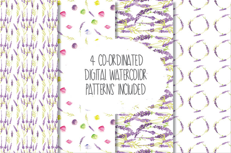 Watercolor clip art in Lavender example image 4