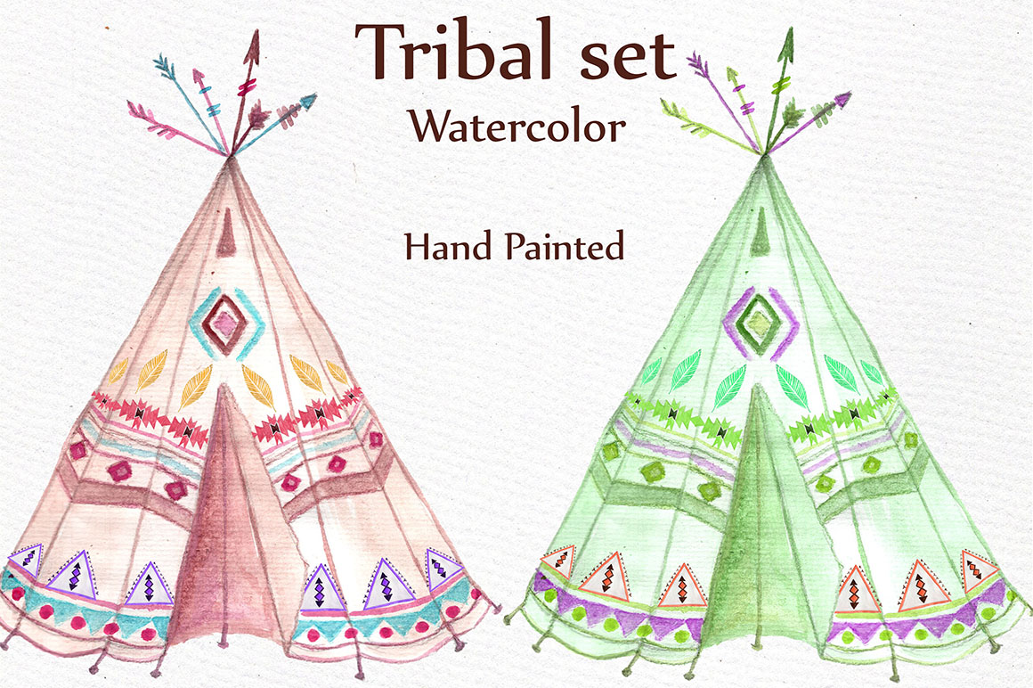 Watercolor tribal set example image 4