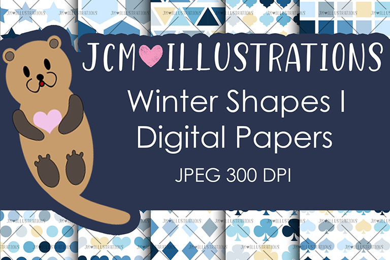 Winter Shapes I - Digital Papers - Digital Scrapbook Papers example image 1
