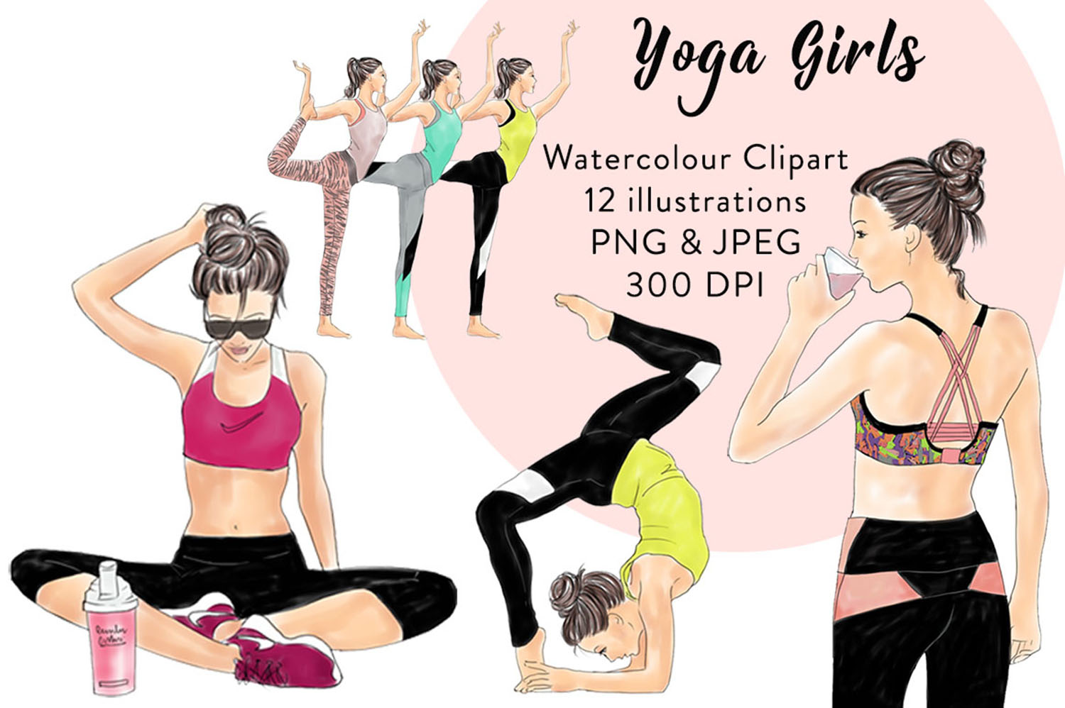 Yoga girls watercolour illustrated clipart example image 1