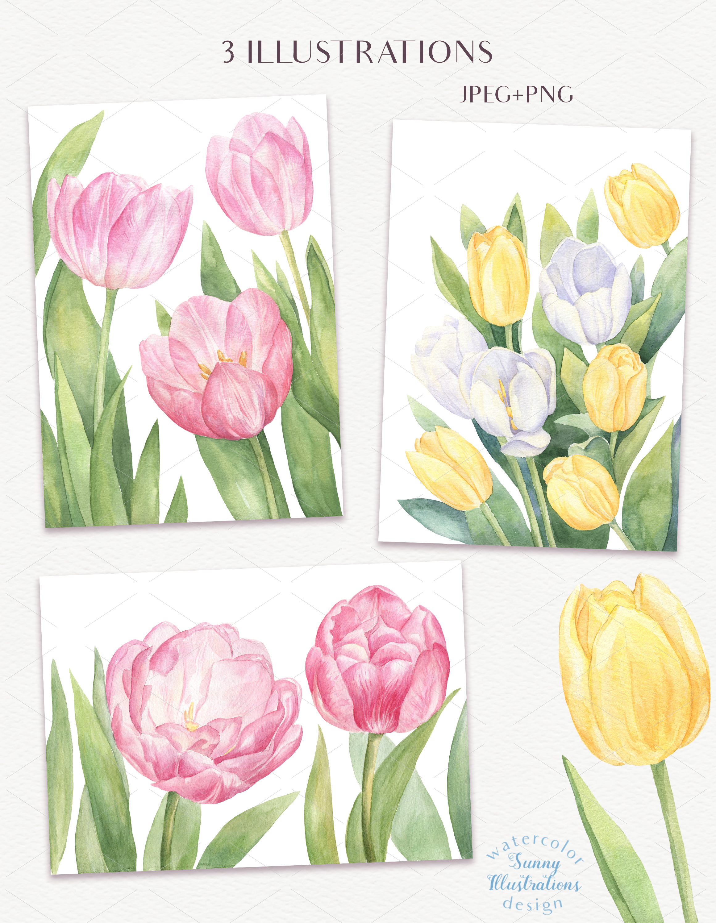 Watercolor Tulips example image 4