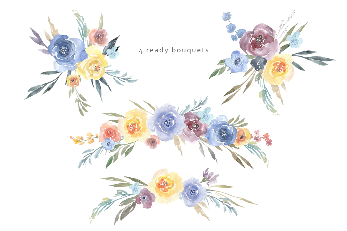 Watercolor blue yellow flowers bouquets png watercolor blue yellow flowers bouquets png example image 3 izmirmasajfo