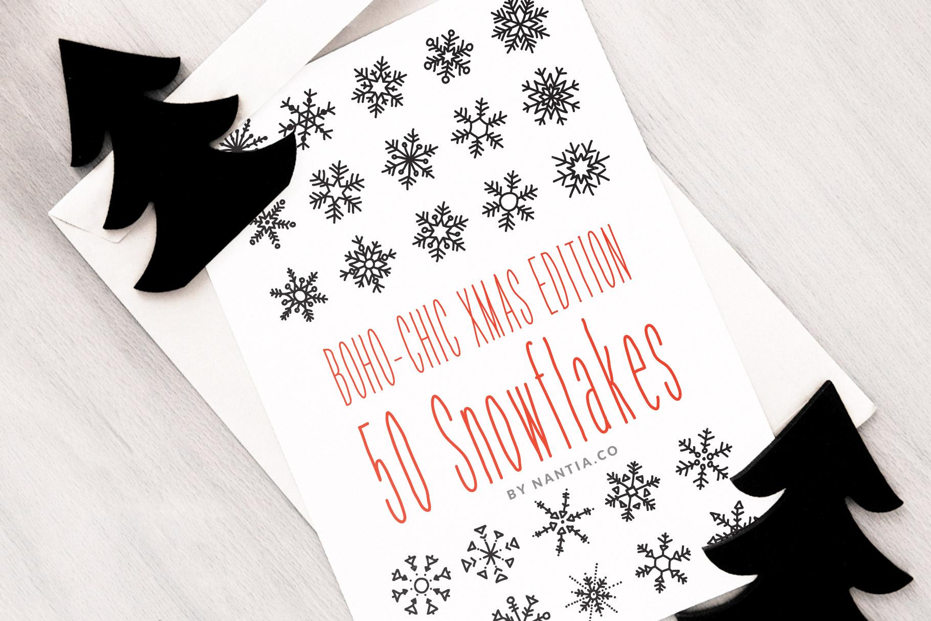 Boho-Chic Xmas Edition 50 Snowflakes example image 1