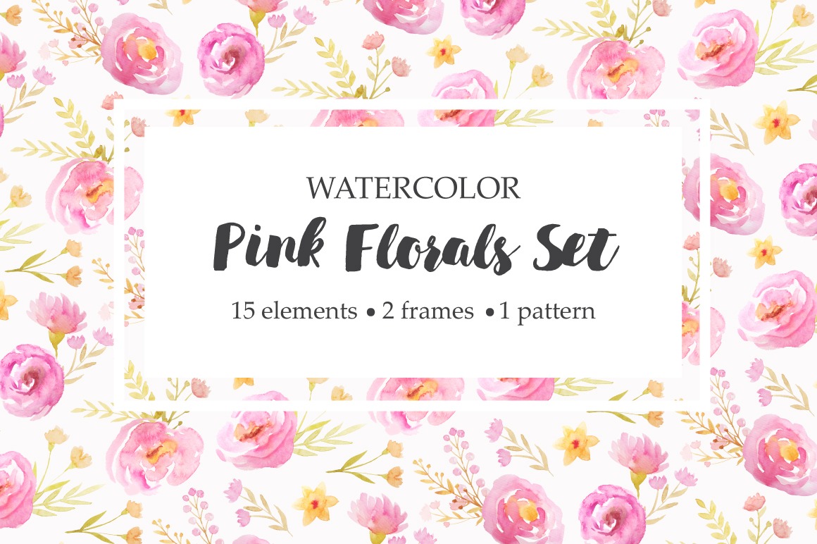 Watercolor Pink Floral Set example image 1