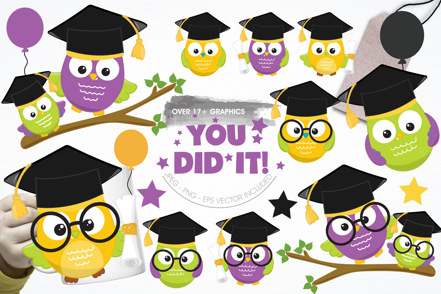 Graduation Owls Cute Graphics example image 1